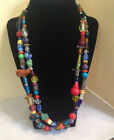 Mulit-Colored Two-Strand Vtg Venitian Murano Art Glass Nekclace Sterling Clasp