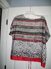 RUBY RD RED BLACK GRAY  WHITE SHORT SLEEVE 100 POLY TOP SIZE L