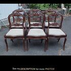 6 Antique Victorian Mahogany Black Walnut Rose Carved Balloon Back Dining CHAIRS