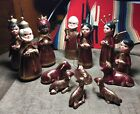 Pottery clay Mexican creche nativity set handmade 13 pc red gold PERFECT