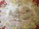 Antique Vtg. Woodland Floral Hunt Bird Dog Cotton Fabric ~ Mauve Pink Yellow