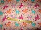 2 Yards Pink with Multicolored Horses and Flowers Flannel Fabric