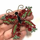 Vtg Red  Light Green Old Czecho Glass Figural Butterfly Brooch Gold Tone EE90zo