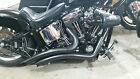BLACK LSD BIG RADIUS STYLE EXHAUST 1986 2017 HARLEY SOFTAIL W HEAT SHIELD