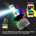 V17 Led Rgb Headlight Conversion Kit Bulb 8000lm H1 H4 H7 H11 H13 9005 9007 9006