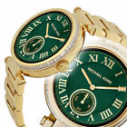 AUTHENTIC NEW MICHAEL KORS LADIES SKYLAR GREEN ROUND DIAL GOLD BAND WATCH MK6065