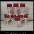 Set of 8 Indiana Glass King's Crown Water Goblets Ruby Flashed