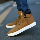 Fashion Mens Oxfords Casual High Top Shoes Leather Shoes Canvas Sneakers Lace up