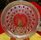 Round 11 Pressed Clear Glass Serving Plate with Vintage Art Deco Design