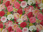 PARIS ROSES PINK RED FLOWERS BLUE COTTON FABRIC FQ