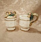 Fitz and Floyd Snowy Woods Porcelain Holiday Sugar and Creamer Set