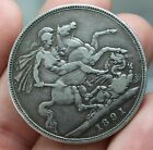 LARGE 1891 QUEEN VICTORIA SILVER CROWN Great Britain ST GEORGE SLAYING DRAGON