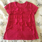 Merona Womens Size Large Hot Pink Ruffle Front Summer Party Blouse Shirt D30