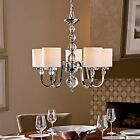 NEW Saint Mossi Metal Crystal Chandelier with Fabric Lampshade Ceiling Pendant