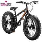 Mongoose 20 inch Bike Fat Tire Boys Bikes Compac 7 Speed Boy Black Bicycles Wide