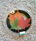 Peggy Karr glass 8 Autumn Leaves plate MIB