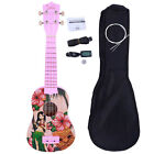 Glarry UC 101 21 Basswood Hawaii Girl Pattern Soprano Ukulele w Bag Strap Tuner