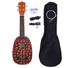 Glarry UC 101 21 Basswood Pineapple Pattern Soprano Ukulele w Bag Strap Tuner