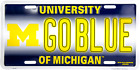 Michigan Wolverines GO BLUE University License Plate Sign Car Truck Made in USA