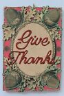 Give Thanks Greeting  Thanksgiving Ornament  Vintage Image  Glittered