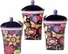NEW Coloratura by Sue Zipkin 3-Piece Canister Set Feature Contrasting Floral