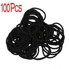 100 Pcs Black Elastic Rubber Hair Band Ponytail Holders for Lady SS