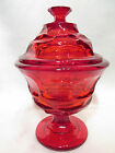 Vintage 1960s Ruby Red Candy Dish W Lid Signed Heavy