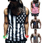 Mens Gym Fitness American Flag Muscle Tank Top T Shirt Workout Singlet Tee Shirt