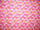 DAISEY FLORAL FLOWERS PINK YELLOW COTTON FLANNEL FABRIC OOP FQ