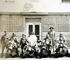 Vintage BW Photo of Black Motorcycle Group outside Bobby Lees Fried Chicken