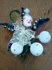 Vintage Christmas Corsage Pin Hand Made Santa Ornaments