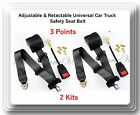 2 Kits Universal Strap Retractable  Adjustable Safety Seat Belt Black 3 Point