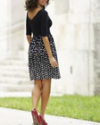 CUTE BLACK  WHITE POLKA DOT KNIT DRESS MONROE  MAIN AUDREY BELTED washable