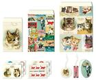 Cavallini  Co Vintage Cats Petite Parcel Set Paper Bags Tags and Stickers