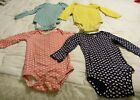 Lot of 4 Carters Baby Girl 18mo Bodysuits w Snaps Long Sl 100 Cotton Preowned