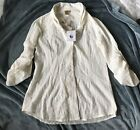 APRIL CORNELL BLOUSE WHITE SIZE XS BRAND NEW CASUAL ROLL-UP LONG SLEEVES