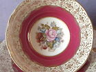 Antique 1940s Aynsley JA Bailey pink rose red gold fleur de lis tea cup teacup