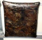 vintage mid century leather look, swirl brown pillow 19 x 22 inches, awesome