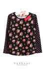 NEW JUMPING BEANS Kids Girls Floral Ribbon Cute Tunic Top Black Pink Multi 3T 4T