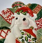 Fitz and Floyd Canope Plate ~ Red White Green Ornaments ~ Christmas Bunny Blooms