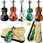 New 16 Acoustic Viola + Case + Bow Black Pink White Blue Green Brown Natural