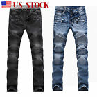 Mens Ripped Skinny Biker Jeans Destroyed Frayed Slim Fit Denim Pants Trousers