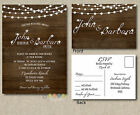 Wedding Invitation Set Suite  Rustic Wood Fairy Lights With RSVP Post Card