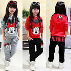2pcs Kids Girls Minnie Mouse Tracksuit Hoodie Hooded Sweatshirt Pants Outfit Set