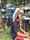 Warbonnet Blue Hat Feather Inidan Headdress Native American Warbonnet Replica