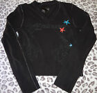 JUNIORS SIZE SMALL BLACK ECKO RED COTTON LONG SLEEVE TOP SHIRT RED BLUE FLOWERS