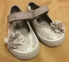 Circo Baby Girl Sz 6 Velcro Close Canvas Mary Janes Silver with attached flower