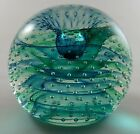 Caithness Scotland Art Glass Paperweight Green Controlled Bubbles Spinaway