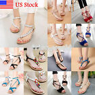 Ladies Summer Bohemia Sandals Womens Flat Shoes Holiday Beach T Strap Flip Flops