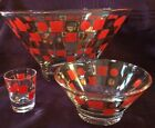 Mid Century Atomic Anchor Hocking Red  Gold Glass Chip  Dip Bowl Set Toothpick